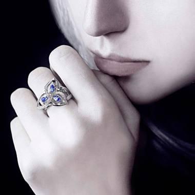 Blue Sapphire Engagement Ring Diamond Paving White Gold Estelle