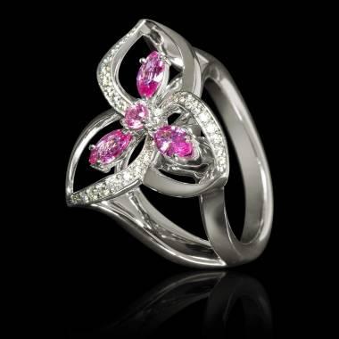 Pink Sapphire Engagement Ring Diamond Paving White Gold Estelle