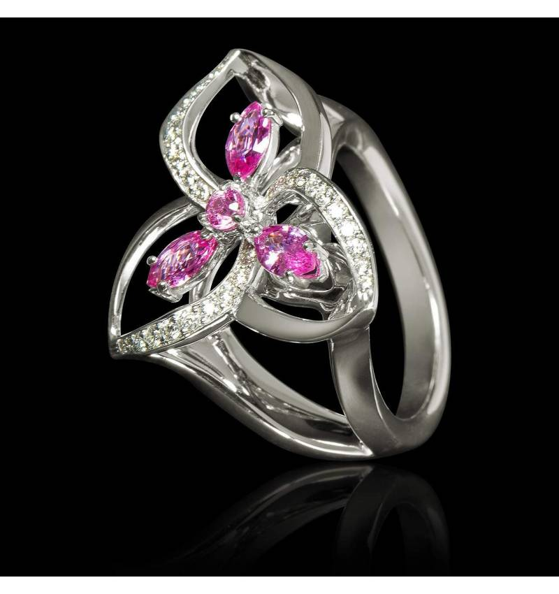 Pink Sapphire Engagement Ring Diamond Paving White Gold Estelle