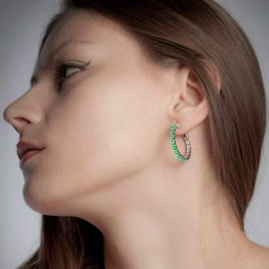 Emerald Earrings Gold Créoles