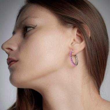 Pink Sapphire Earrings Gold Creoles
