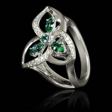 Emerald Engagement Ring Diamond Paving White Gold Estelle