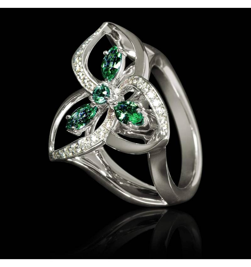 Emerald Engagement Ring Diamond Paving White Gold Estelle