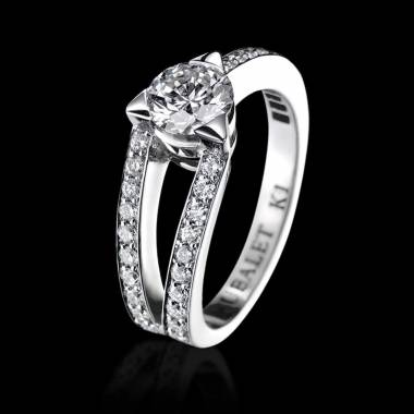 Diamond engagement ring diamond paving white gold Plena Luna