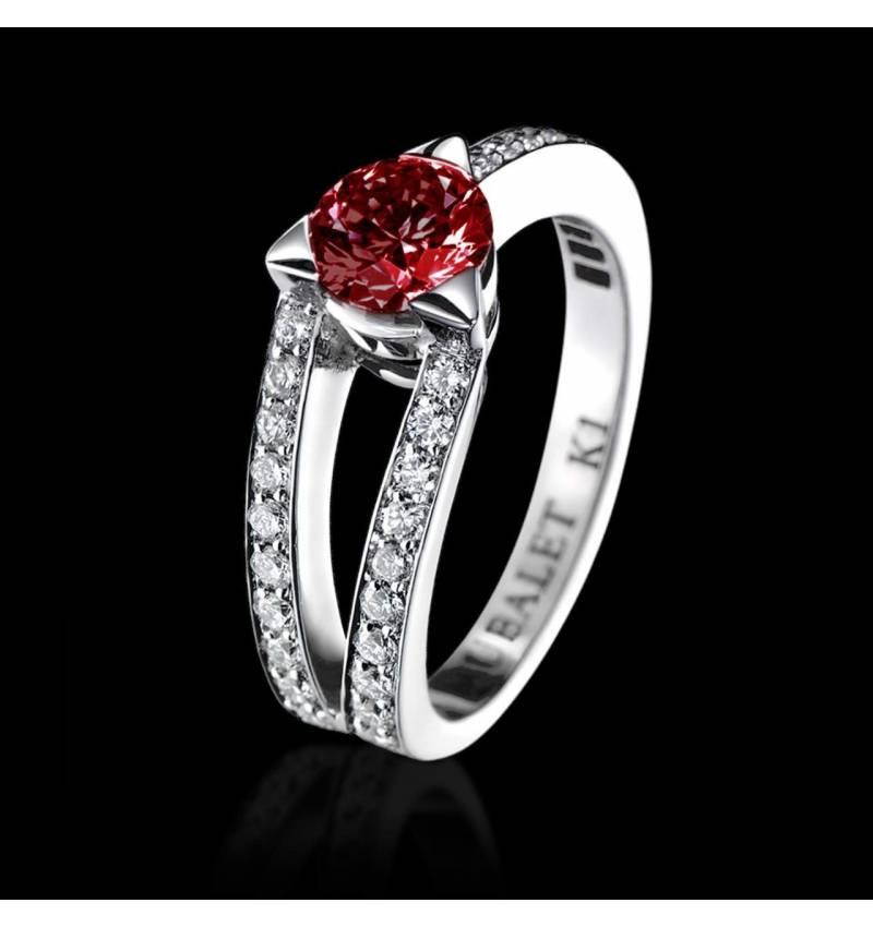 Ruby engagement ring diamond paving white gold Plena Luna