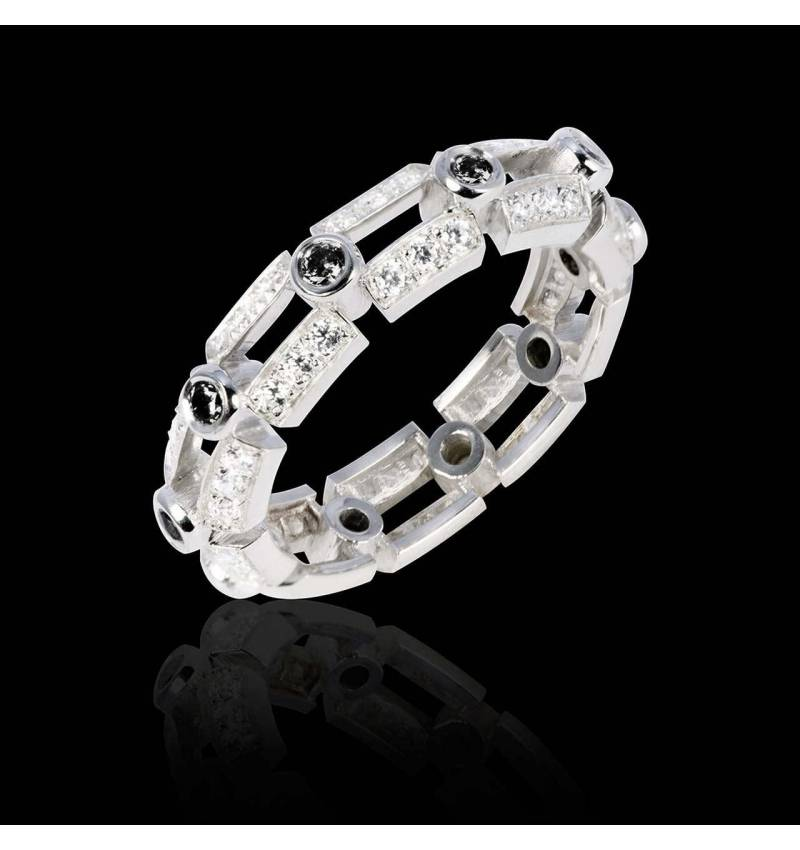 White Gold Wedding Band Diamond Paving Terre