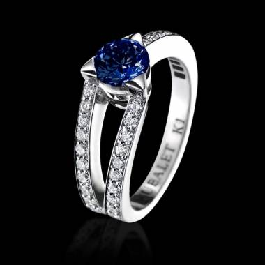 Blue Sapphire Engagement Ring Diamond Paving White Gold Plena Luna