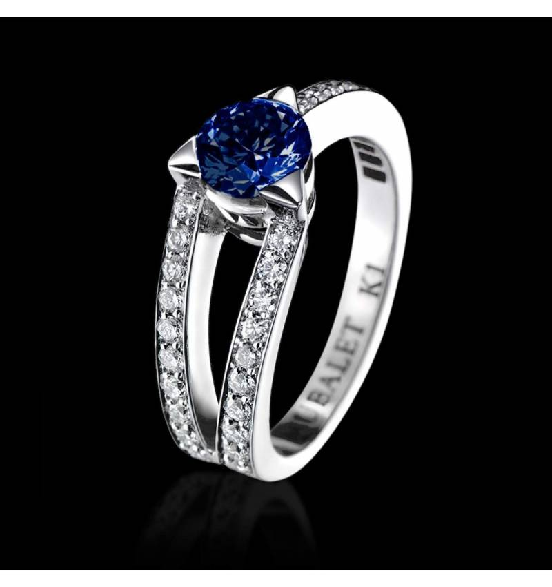 Blue Sapphire Engagement Ring Diamond Paving White Gold Plena Luna