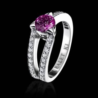 Pink Sapphire Engagement Ring White Gold Plena Luna
