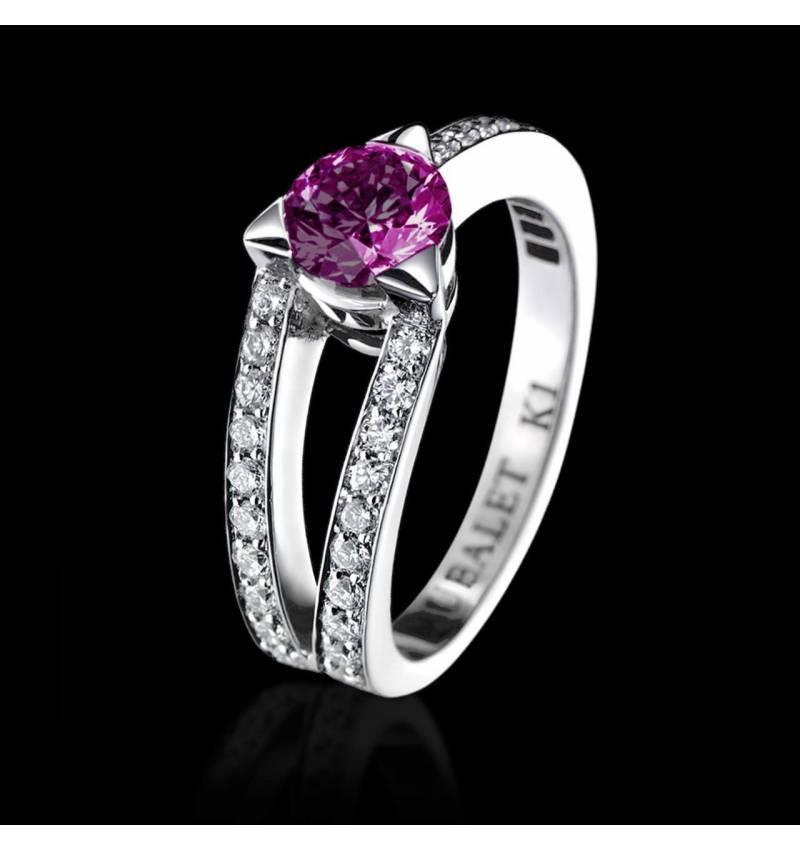 Pink Sapphire Engagement Ring White Gold Plena Luna
