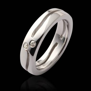 Etoiles Filantes Diamond Wedding Band Platinium