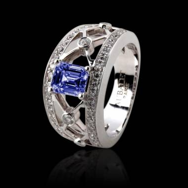 Blue Sapphire Engagement Ring White Gold Regina Suprema