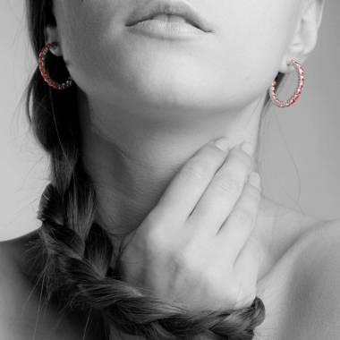 Ruby Earrings Diamond Paving Gold Créoles Inside