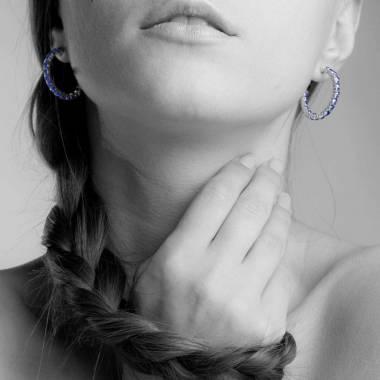 Blue Sapphire Earrings Diamond Paving Gold Creoles Inside