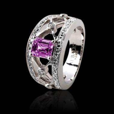Pink Sapphire Engagement Ring White Gold Regina Suprema