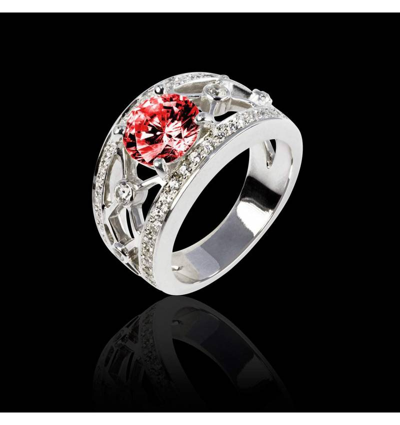 Ruby Engagement Ring White Gold Rond Regina Suprema