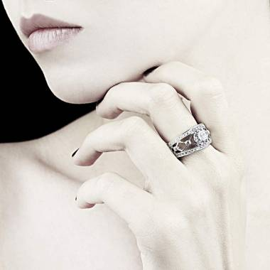 Diamond Engagement Ring Diamond Paving White Gold Rond Or Regina Suprema