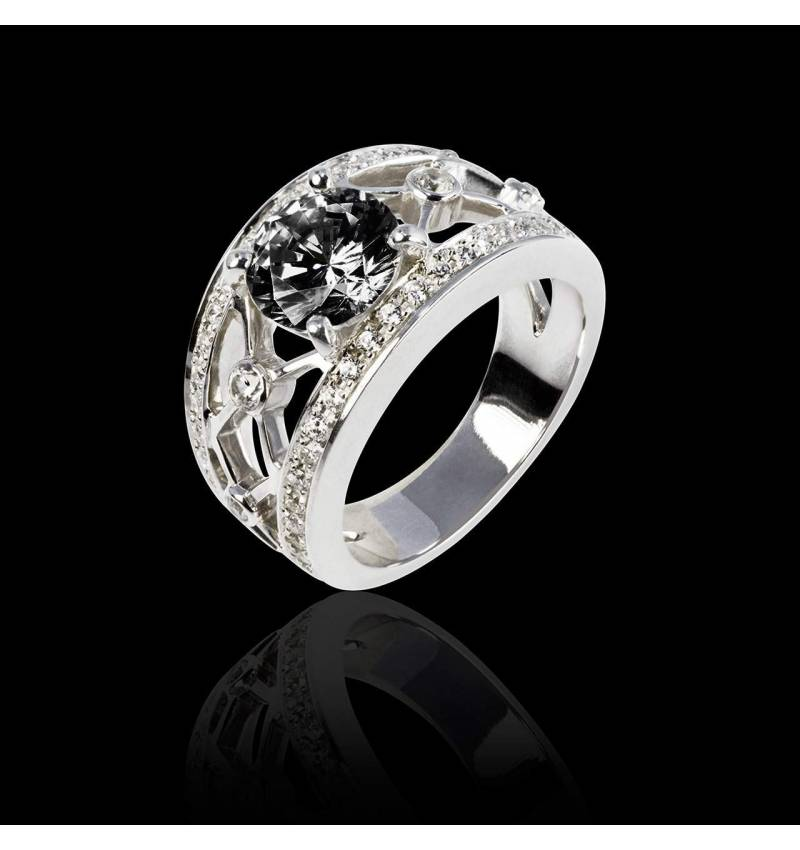 Black Diamond Engagement Ring White Gold Regina Suprema