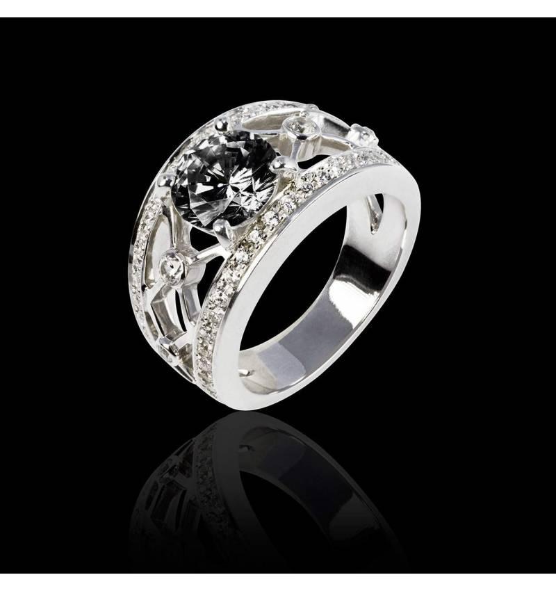 Black Diamond Engagement Ring White Gold Regina Suprema