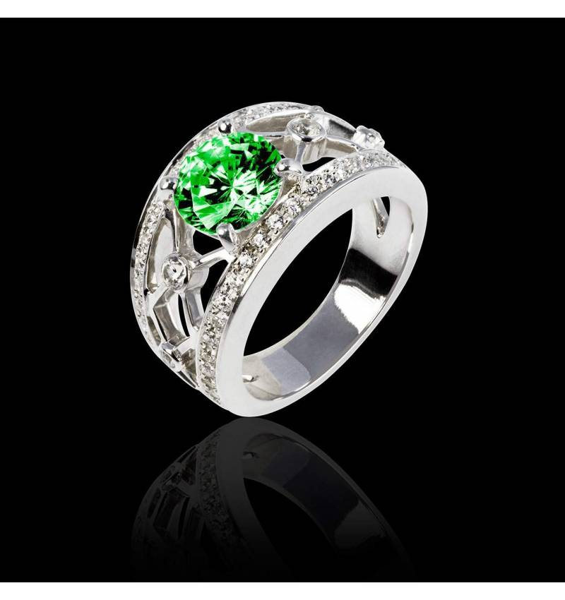 Emerald Engagement Ring White Gold Round Regina Suprema