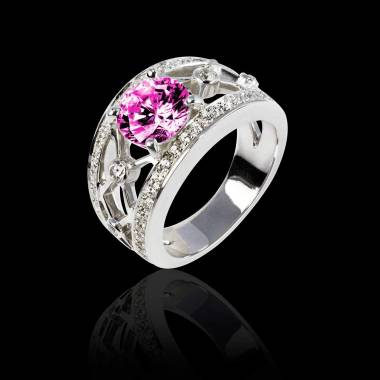 Pink Sapphire Engagement Ring White Gold Round Regina Suprema