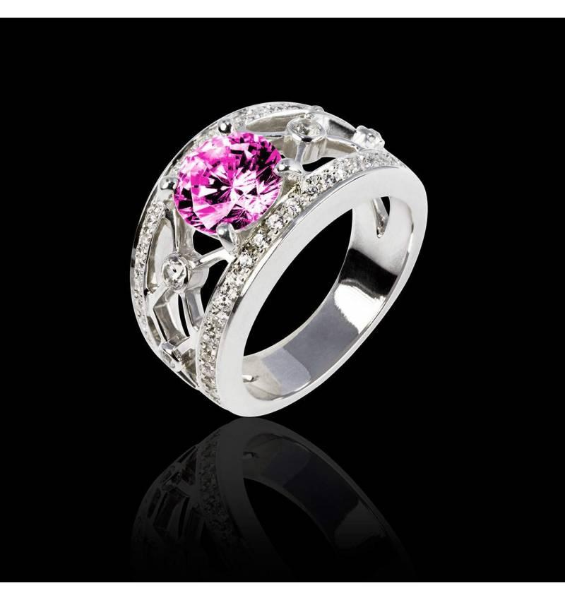Pink Sapphire Engagement Ring White Gold Round Regina Suprema