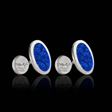 Boutons de manchette chevalière Ovum Lapis-lazuli