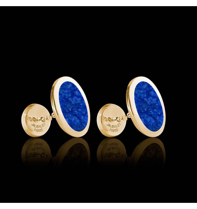 Boutons de manchette chevalière Ovum Lapis-lazuli or jaune vermeil