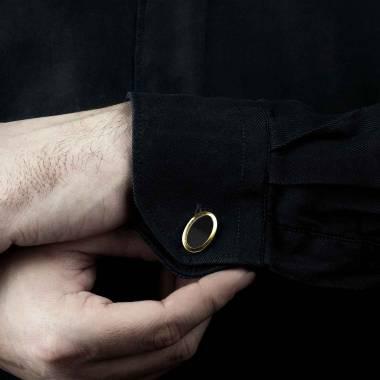 Boutons de manchette chevalière Ovum Onyx or jaune vermeil