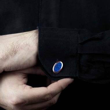 Boutons de manchette chevalière Ovum Lapis-lazuli or rose vermeil