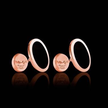 Boutons de manchette chevalière Ovum Onyx or rose vermeil