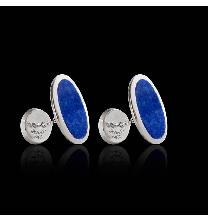 Boutons de manchette chevalière Ellipsis Lapis Lazuli argent palladié