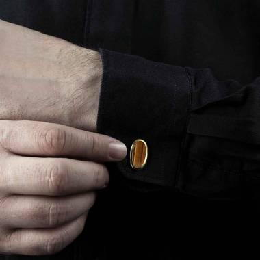 Boutons de manchette chevalière Ellipsis oeil de Tigre or jaune vermeil