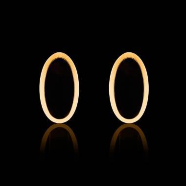 Boutons de manchette chevalière Ellipsis Onyx or jaune vermeil