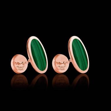 Boutons de manchette chevalière Ellipsis Malachite or rose vermeil