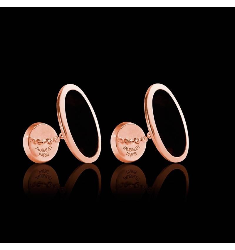 Boutons de manchette chevalière Ellipsis Onyx or rose vermeil