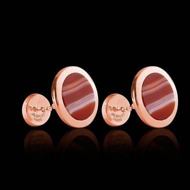 Boutons de manchette chevalière Ovalis Agathe zonée or rose vermeil
