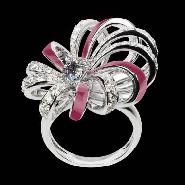 Dahlia Gold and Diamond Ring with Lacquer
