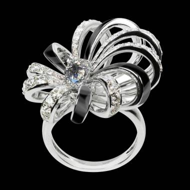 Diamond Engagement Ring White Gold Dahlia en laque