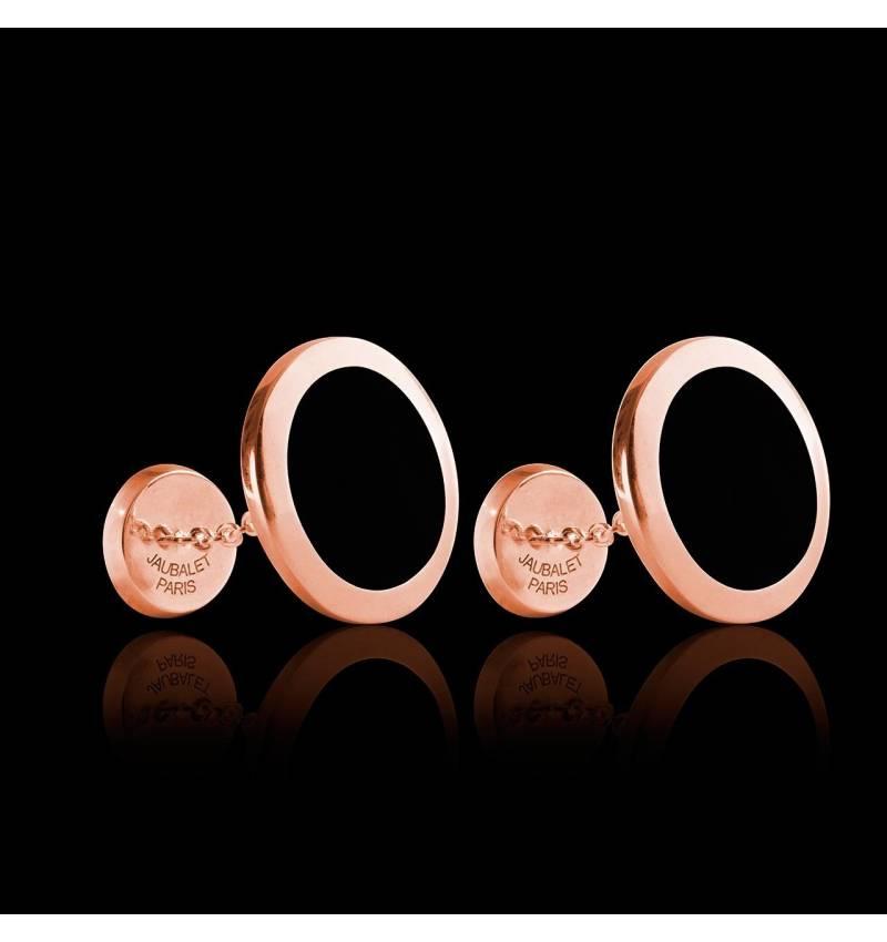 Boutons de manchette chevalière Ovalis Onyx or rose vermeil