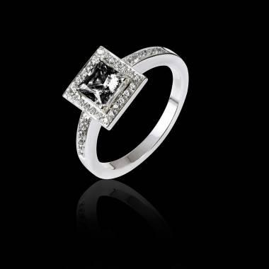 Bague de fiançailles diamant noir Perrine