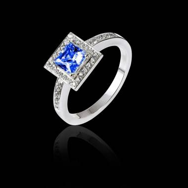 Bague de fiançailles saphir bleu Perrine