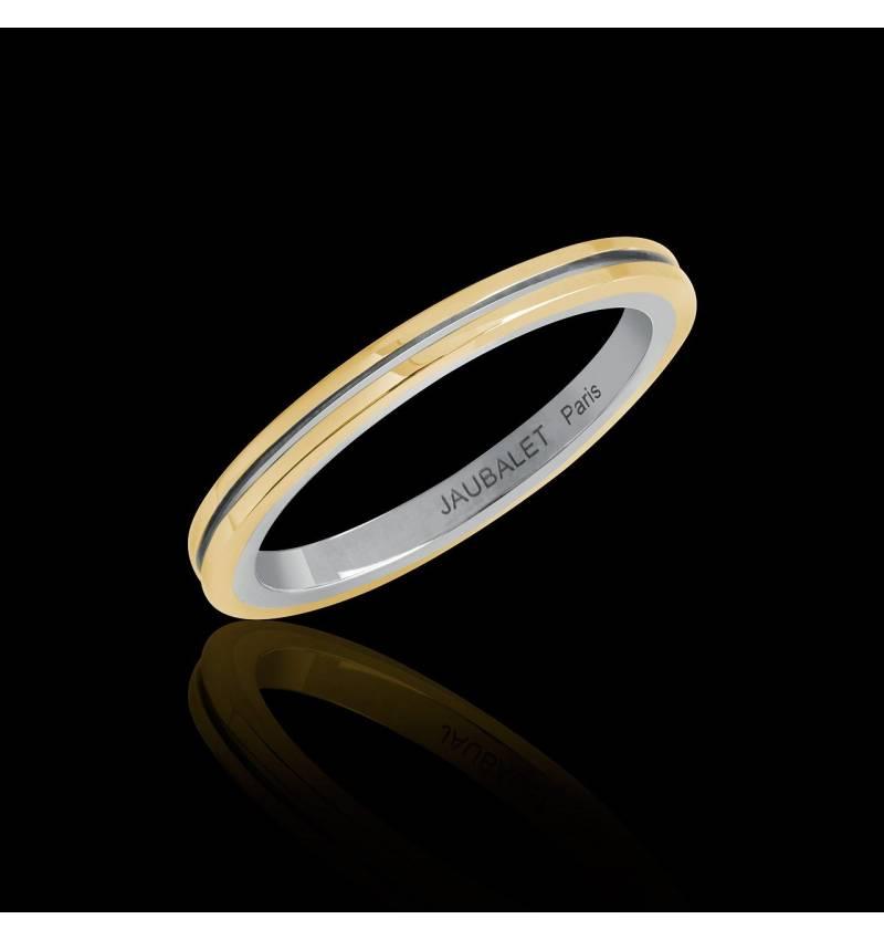 Melanie Yellow Gold White Gold stripe