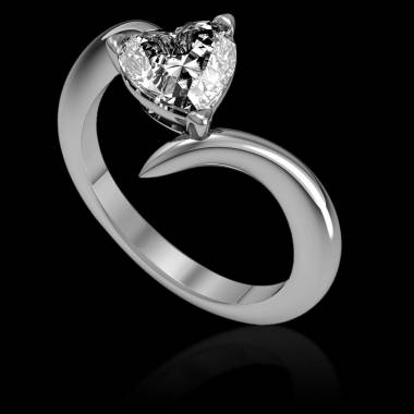 Serpentine Heart Diamond Ring