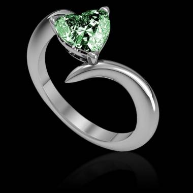 Serpentine Heart Emerald Ring