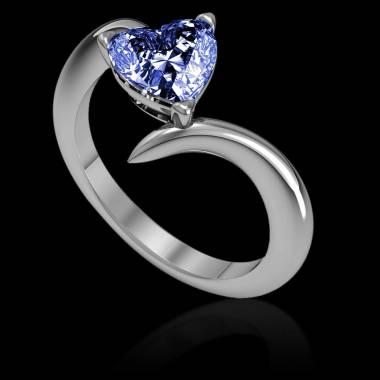 Bague de fiançailles saphir bleu coeur Serpentine