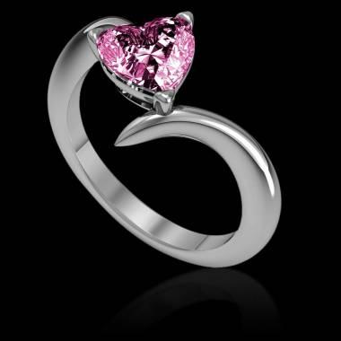Bague de fiançailles saphir rose coeur Serpentine