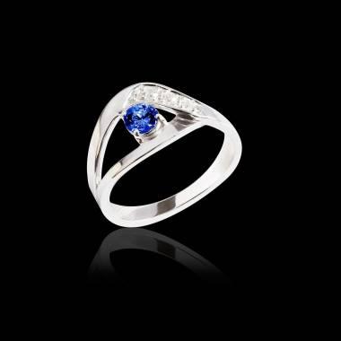 Bague de fiançailles saphir bleu Anaelle