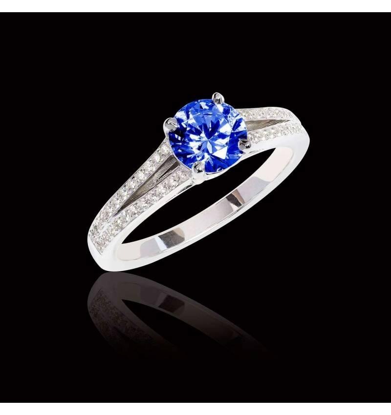 Bague de fiançailles saphir bleu Marie