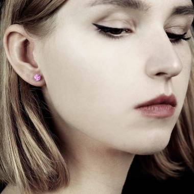 Pink Sapphire Earrings Gold Just Me